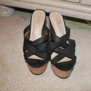 de blossom collection strappy wedges